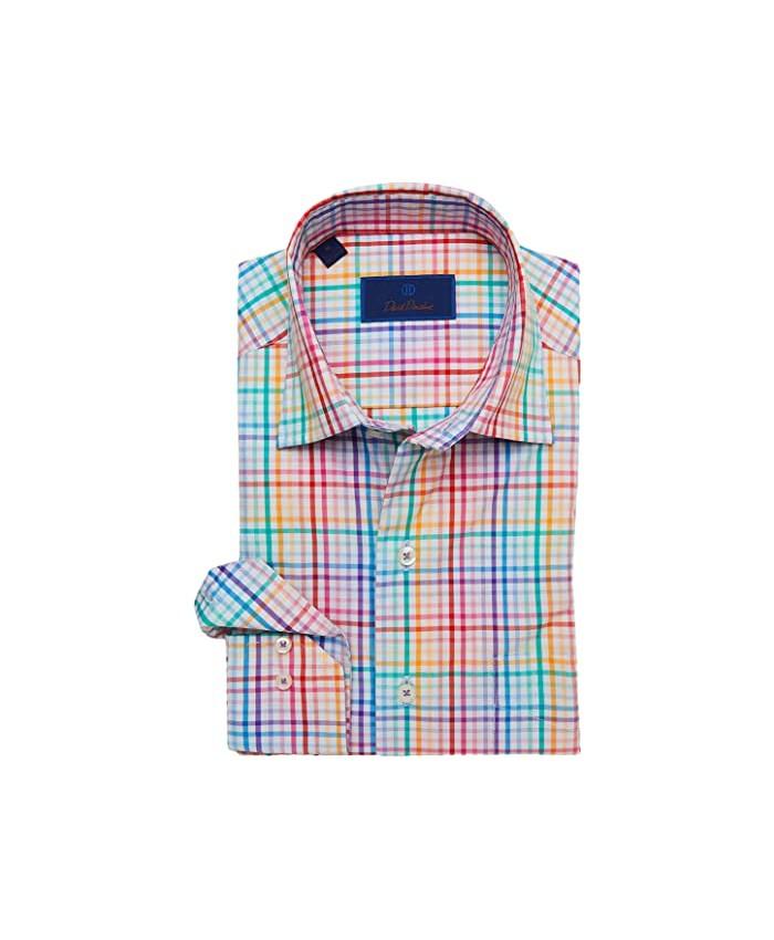 David Donahue Multi Colored Melange Tattersall Sport Shirt