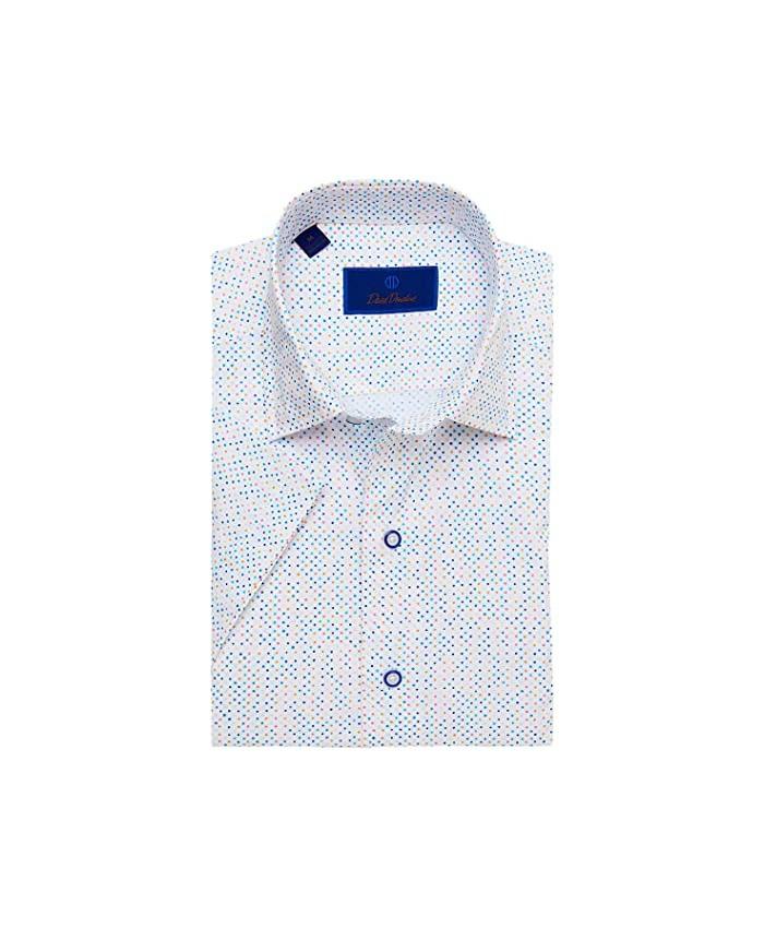 David Donahue Mutli Color Dot Short Sleeve Sport Shirt
