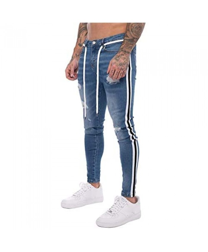 IDEALSANXUN Mens Skinny Ripped Jeans Tapered-Leg Stretch Slim Jeans with Striped