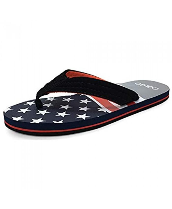 Colgo Mens Comfortable Flip Flops Lightweight Wide Thong Sandals Summer Beach Sandals