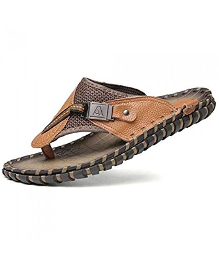 Gospt Men Leather Flip Flop Sandals with Wide Strap Summer Indoor Outdoor Beach Pool Slippers