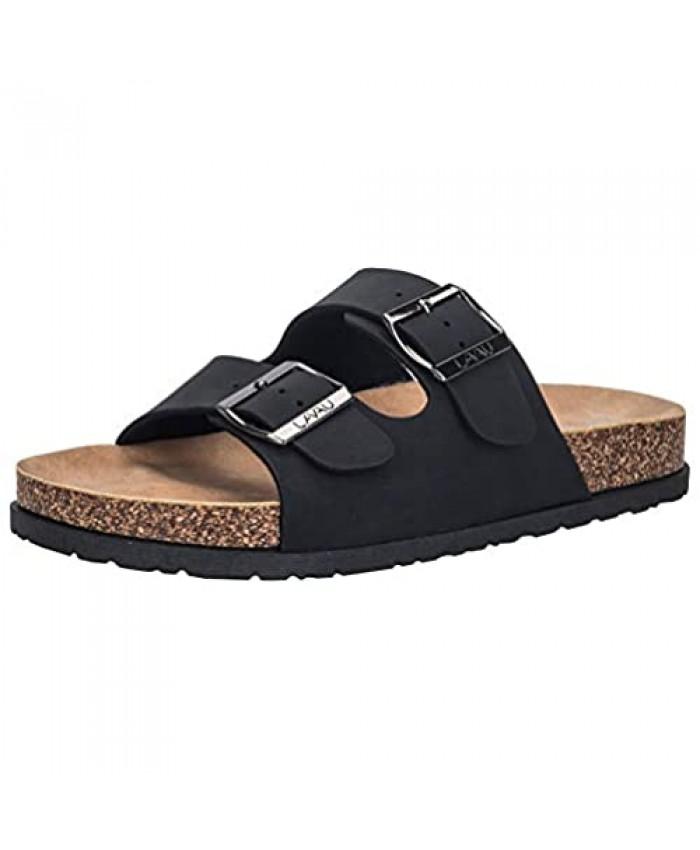 LAVAU Men's 2-Strap Leather Slide Sandals Slid-on Cork Footbed Sandals with Double Metal Adjustable Buckles