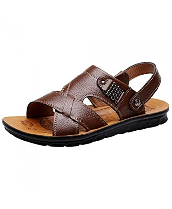 Vocni Men's Open Toe Casual Leather Comfort Shoes Sandals Large Size 6-14