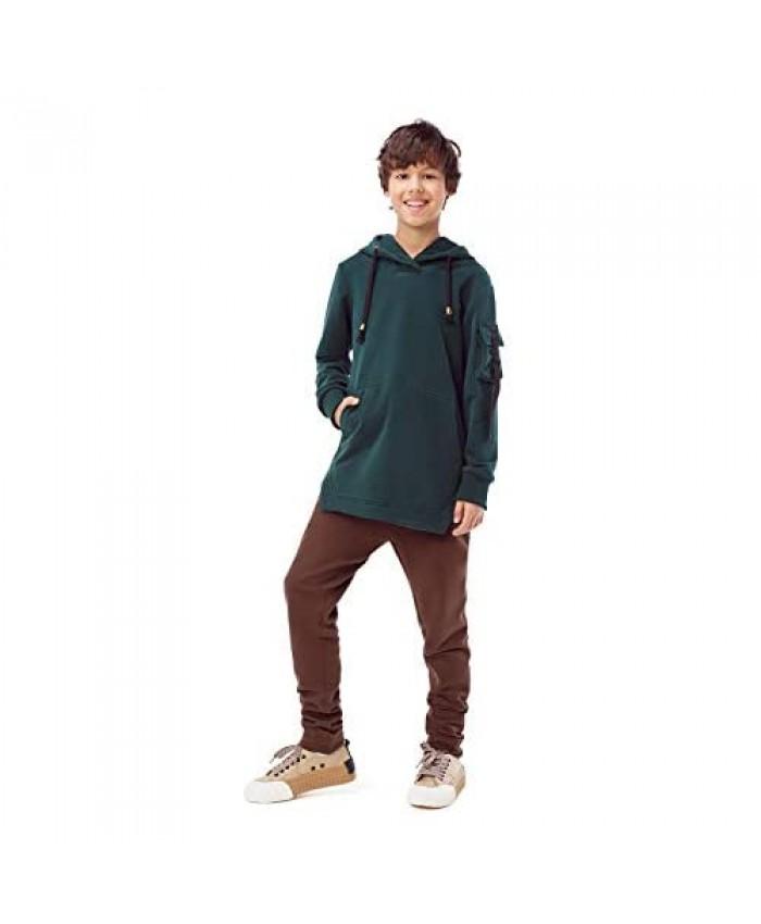 GEMKRAFT Big Boys' Long Sleeve Casual Sweatshirt Classic Hem Pullover Hip Hop Hooded With Back Zipper