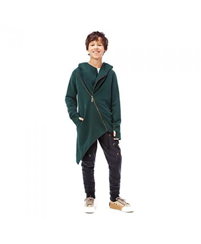 GEMKRAFT Big Boys' Long Sleeve Hoodie Casual Sweatshirt Irregular Hem Pullover Hip Hop Asymmetrical Long Length Zipper Hooded